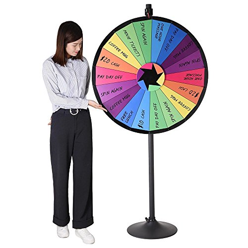 WinSpin 36' 18 Customizable Slots Large Prize Wheel with Stand Fortune Spinning Game for Live Stream Carnival Tradeshow