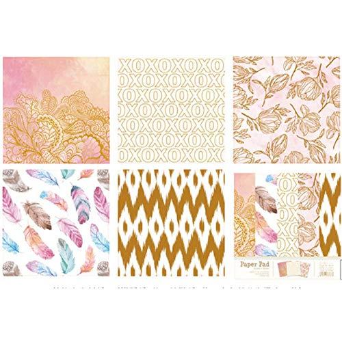 Groet 6 inch Papier Pad voor Decoupage Bloem Decoratieve Papieren Metallic Goud Scrapbooking Papieren Kaart Maken Achtergrond Papier, JJSW0007000D, Verenigde Staten