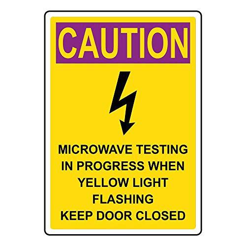VinMea Strahlung Vorsicht Mikrowellentest in Progress When Yellow Light Flashing Keep Door Closed OSHA Safety 8x12 Blechschilder Straßenschild Straßenschild Outdoor Decor Vorsicht Schilder