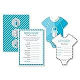 Babyparty Baby Shower Komplettset 16 Stück Spiel-Set S junge blau Partyspiel Quiz Spiel Einladungskarten Deko Party Andenken Einladung Karte Geschenk Partyset Artikel