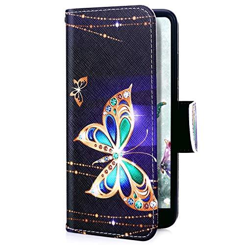 Uposao Kompatibel mit Huawei P20 Lite 2019 Handyhülle Handy Tasche Retro Bunt Muster Brieftasche Schutzhülle Bookstyle Flip Case Wallet Cover Kartenfächer Magnet Klapphülle,Schmetterling