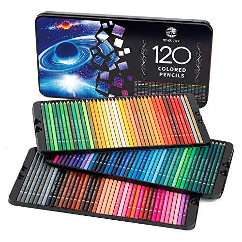 SJ STARJOY 120 Colored Pencils for Coloring Books Premier Coloring Pencils Set with Vibrant Color Perfect Holiday Gifts for Colorist Drawing Soft Core Colored Pencils