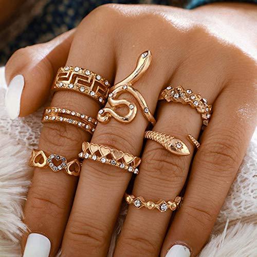 Ushiny Juego de anillos de dedo de cristal bohemio, anillo de serpiente de oro, anillos de corazón tallados a la moda, apilables, accesorios de joyería para mujeres y niñas (8 piezas)