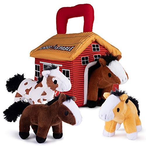 Plush Creations Horse Toys for Kid Playset Includes Stable Carrier with 4 Cuddly Interactive Talking and Neighing Toy Horses. Best Gift for Girls Or Boys Toddlers and Babies.