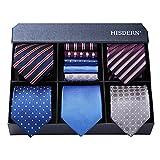 Lot 5 Pcs Mens Ties Collection Elegant Neckties and Pocket Square Gift Box Tie Business Tuxedo Necktie Handkerchief Set