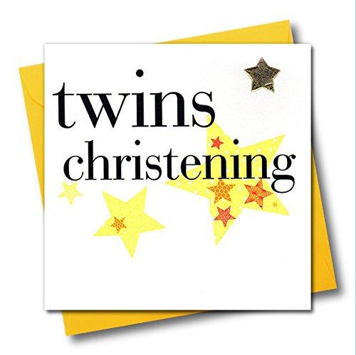 Claire Giles verjaardagskaart, hart en sterren, doopkaart voor tweelingen