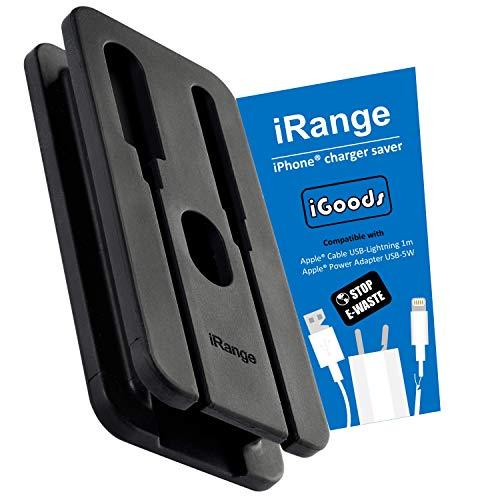 iGoods I iRange [Funda para Cable y Adaptador iPhone] Compatible Cable Conector Lightning I Adaptador Corriente USB 5 W I Bolsas organizar los Cables I Portable I Viajes I Accessorios Apple
