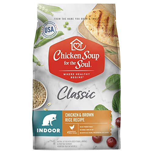 Chicken Soup for the Soul Pet Food - Indoor Cat Food, Chicken & Brown Rice Recipe, 13.5 lb. Bag, Soy, Corn & Wheat Free, No Artificial Flavors or Preservatives