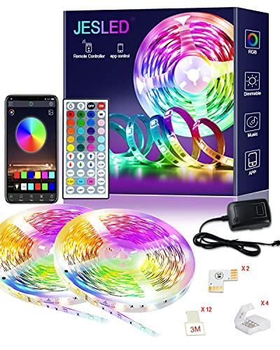 LED Strip, JESLED 12m Bluetooth RGB LED Streifen, App und IR Fernbedienung, Musik Sync LED Lichtband SMD5050 RGB Band Licht Farbwechsel Lichtleisten für Schlafzimmer Küche Bar Party