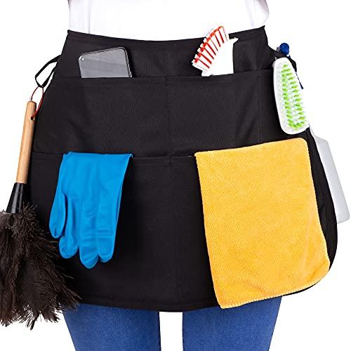 SupplyMaid Delantal corto de limpieza con muchos bolsillos y trabillas, no olvides = ahorro de tiempo, color negro