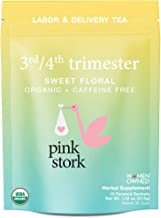 Pink Stork Labor Prep: 3rd/4th Trimester Sweet Floral Red Raspberry Tea, 30 Cups, USDA Organic Loose Leaf Herbs in Biodegradable Sachets