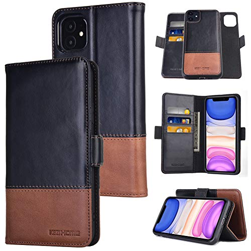 KEZiHOME iPhone 11 Wallet Case, [2 in 1 Detachable] iPhone 11 Case, [RFID Blocking] Genuine Leather Magnetic Flip Case with Card Holder Stand Magnetic Closure for iPhone 11 6.1 inch (Black/Brown)
