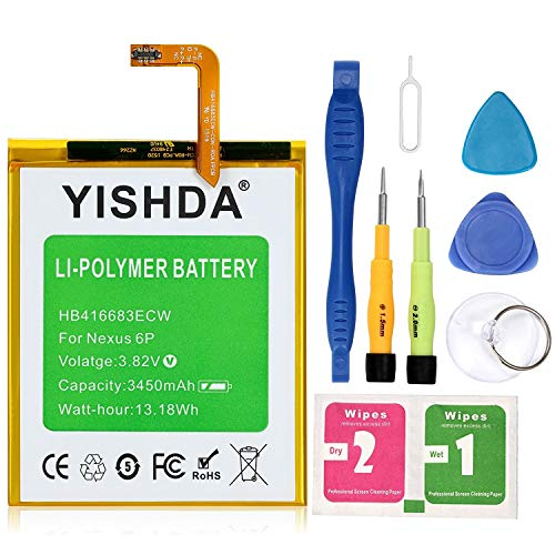 Nexus 6P Battery, YISHDA 3450mAh Replacement HB416683ECW Battery for Huawei Google Nexus 6P H1511 H1512 with Tools | Huawei Google Nexus 6P Battery Kit
