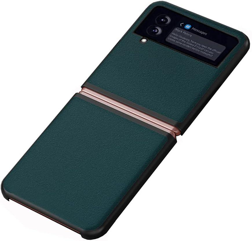 DOOTOO for Samsung Galaxy Z Flip 3 Case Ultra Thin Carbon Fiber Leather Hybrid PC Shockproof Protection Fold Cover Case for Samsung Galaxy Z Flip 3 5G 2021 (Green 02)
