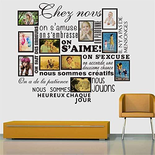 Familienfoto-Rahmen-Aufkleber französische Hausregeln S'aime Abziehbilder Hauptdekor Wandtattoo Kinderzimmer Wandaufkleber Schlafzimmer