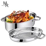 Mr Rudolf 18/10 Stainless Steel 15-inch Oval Roaster with...
