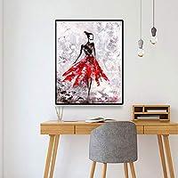 ファッションガール抽象キャンバス絵画書道ポスターとプリント壁アート写真リビングルームの家の装飾70x80cm(28x32in)内枠