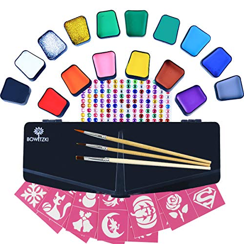 Bowitzki Face Paint Kit for Kids 14 Color Face Painting Set 168 Rhinestones 40 Stencils 2 Glitter 3 Brushes Non Toxic Water Based Professional Halloween Makeup Christmas Body Paint Adults