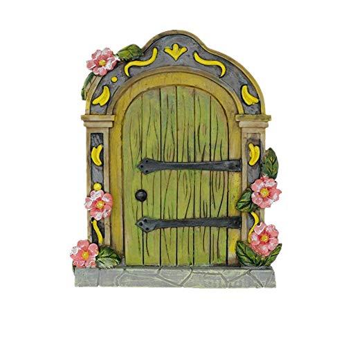 Puerta de jardín de hadas en miniatura para accesorios de jardín de hadas, gnomo, decoración del hogar, puertas de hadas (verde)