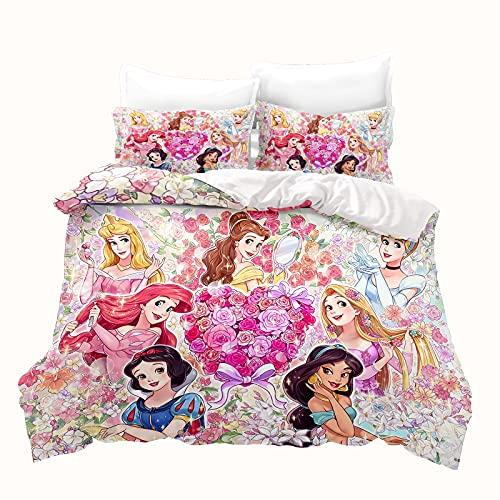 LKFFHAVD Disney Princesas – Ropa de cama Rapunzel – Ropa de cama infantil – 135 x 200 cm – Impresión 3D microfibra rosa – Funda nórdica + funda de almohada (135 x 200 cm)