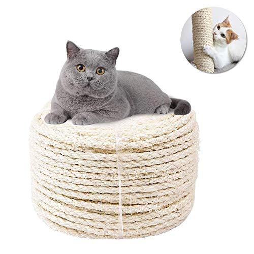 HENJI Sisalseil für Kratzbaum,6mm(20m) Sisal-Seil,Natürliches Sisalseil,für Haushalt, Garten & Basteln,Perfekt geeignet für Katzen Kratzbäume