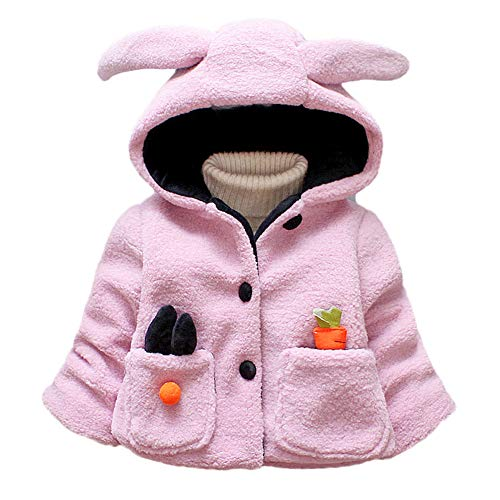 Goosuny Baby Teddyjacke Kinder Herbst Winter Jacke Mantel Künstliche Wollmantel Fleecejacke Mit Hasenohren Kapuze Kurzjacke Mädchen Prinzessin Warm Winterjacken 0,5-4 Alter(Rosa,6)