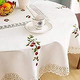 Dalina Textil Manteles Redondo 150cm Algodon Lino - Mantel Decorativo con Diseño Bordado Cerezas para Mesa de Cocina - Comedor