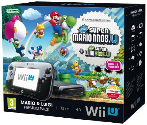 Nintendo Wii U Black Premium Pack (32GB) + New Super Mario Bros.U + New Super Luigi U