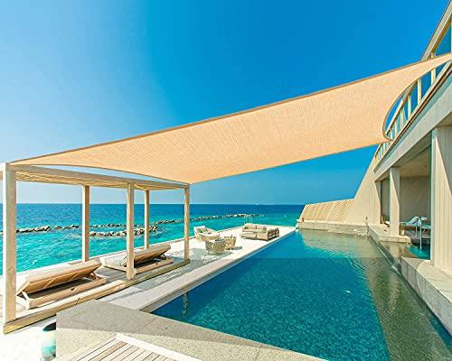 WERTY Sun Shade Sails Rectángulo UV Bloqueo Canopy HDPE Toldo para el Patio de césped Carril Portuerza Jardín Actividades al Aire Libre, Arena Beige,13.1×19.6ft