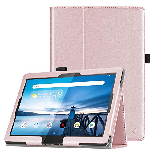 FINTIE Case for Lenovo Smart Tab P10 (TB-X705F/TB-X705L) / M10 (TB-X605F) 10.1-Inch Android Tablet 2018 Release - Premium PU Leather Folio Cover with Stylus Holder, Rose Gold