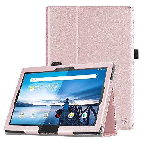 Fintie Hülle kompatibel für Lenovo Tab M10 / P10 - Folio Kunstleder Schutzhülle mit Standfunktion für Lenovo Tab M10 / P10 (10,1 Zoll) Tablet PC, Roségold