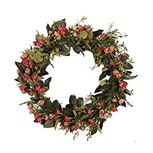 Alapaste Artificial Snowball Flower Wreath for Front Door,15.8in Handcrafted Greenery Wreath Spring Wreath for Festival Celebration Wall Decoration,Red