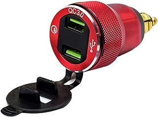 mooderff Quick Charge 3.0 - Cargador USB para Coche (12 V/24 V, Resistente al Agua, Adaptador con voltímetro LED, indicador de tensión para Motocicleta, Barco, camión, ATV)