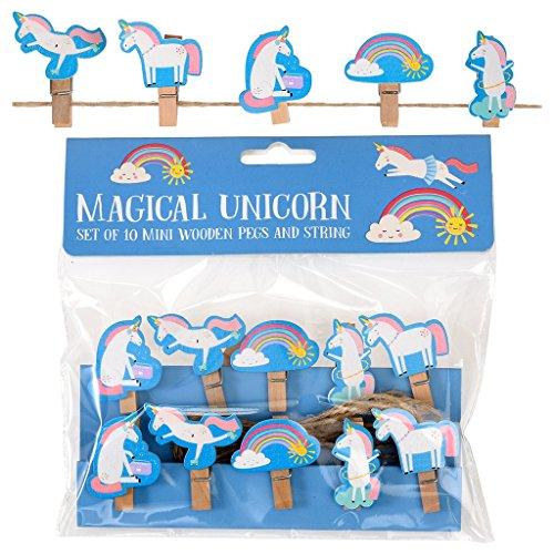 Deko-Wäscheklammern mit Tiermotiven 10 Stück mit Einhorn Unicorn