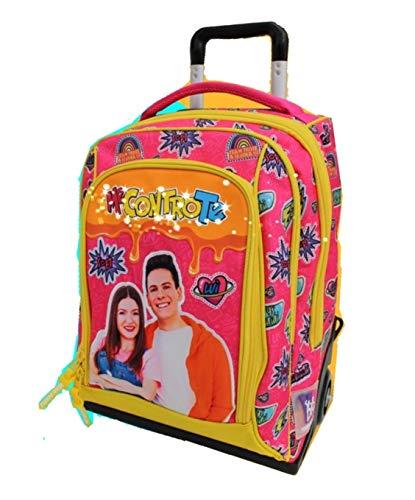 Me contro Te Mochila con ruedas de color rosa y amarillo con luces + llavero de regalo + pulsera colgante ángel rosa + 10 bolígrafos con purpurina