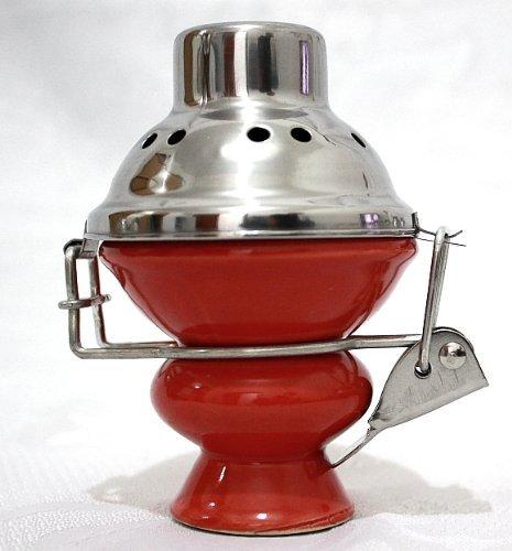 Grote keramische waterpijp met windafdekking/Shisha keramische kop/houtskool scherm (rood)