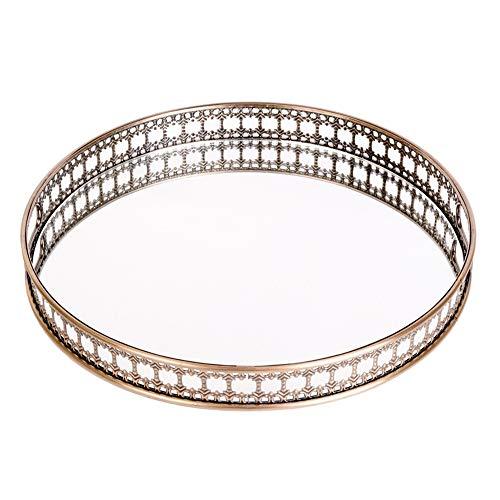 Decorazione domestica Tray Vassoio in vetro specchiato Decorativo bagno Vanity Cosmetic Makeup Organizer Display Profumo Portaruttore Jewelry Box di stoccaggio ( Color : Gold , Size : 45x45x5.5cm )