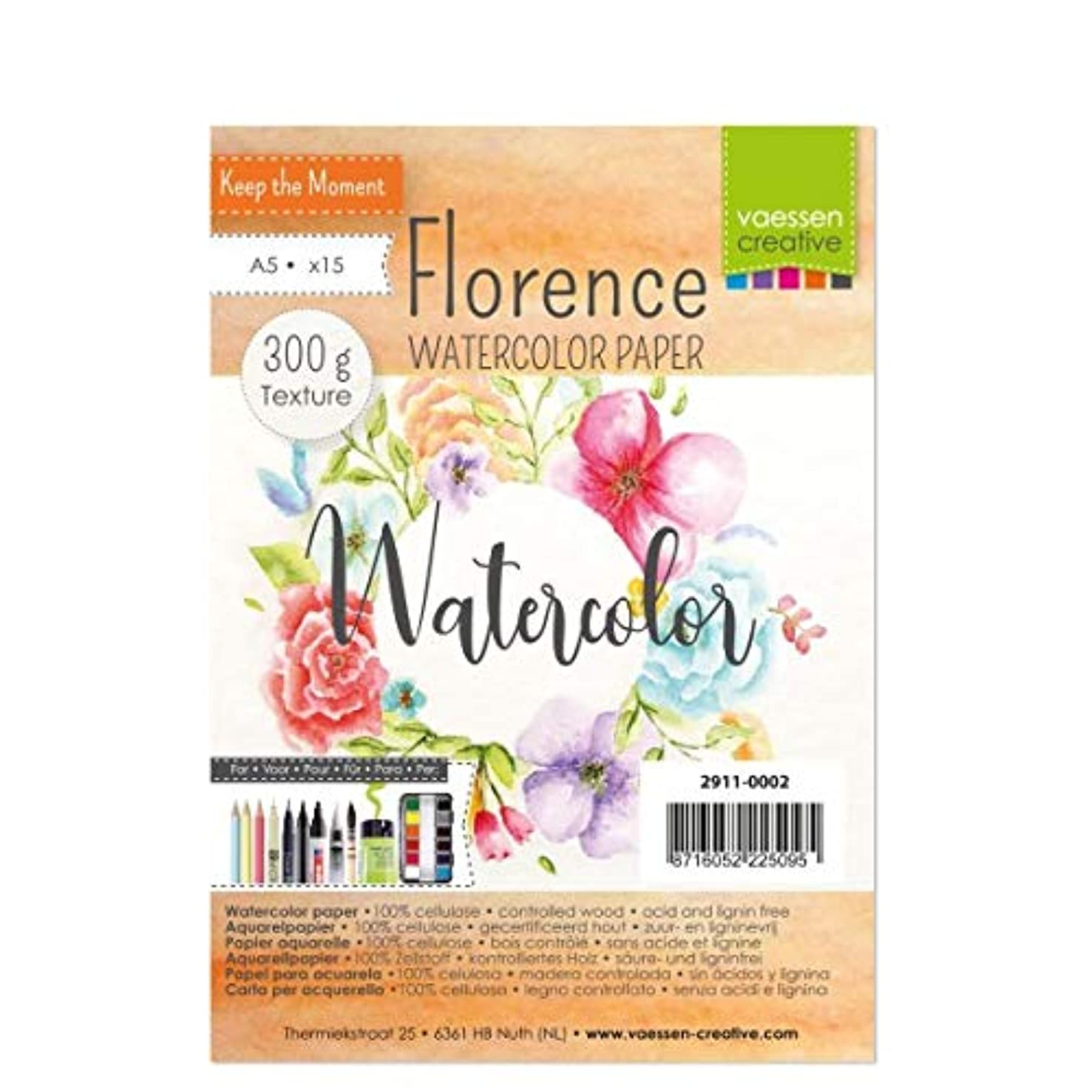 Vaessen Creative Florence Watercolour Paper A5, Ivory, 300 GSM, Artist Grade Quality, Textured Surface, 15 Sheets for Painting, Handlettering, Art Projects