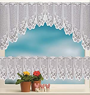skyfiree 2pc White Lace Kitchen Curtains Set Swag Valance Embroidery Cafe Curtain Tier 62 inch Length