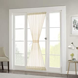 RYB HOME Sheer Curtains for Sidelight Windows - Decorating Privacy Voile for Balcony Doors Farmhouse Cabin Patio Door Shades, 1 Rope, 1 Panel, 60 inches Width x 72 inches Length, Beige