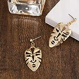YUJUEE Ohrringe Frauen Mode Stilvoll Glänzenden Goldenen Gesichtsmaske Legierung Cool Ausdrucksstarke Weibliche Ohrringe