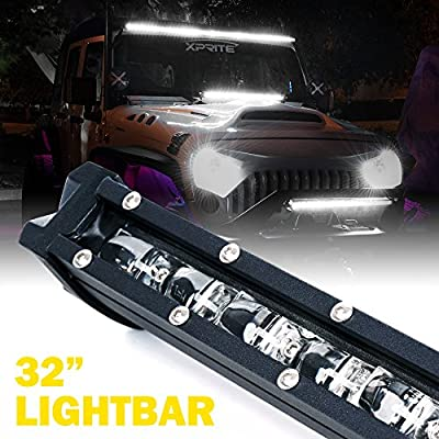 Xprite 32 Inch 150W CREE Light bar, Ultra Thin Single Row Slim LED Light Bar, 4D Optical Lens Flood Beam for Jeep 4X 4 Off Road ATV SUV UTV Car Truck