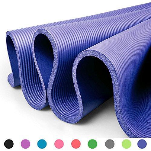 GLAMEXX24 Tappetino Spesso e Morbido per Il Fitness, Pilates, Ginnastica e Yoga 183x61x1 cm Blu