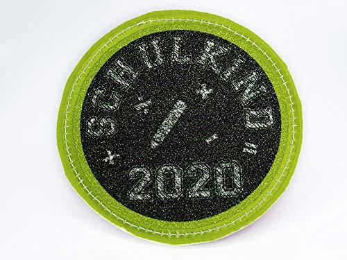 Glitzer - Klett - Patch Einschulung 2020 Schulkind für den Schulranzen optional mit Namen | auch als Anhänger oder zum Aufbügeln | super Geschenk zu Einschulung