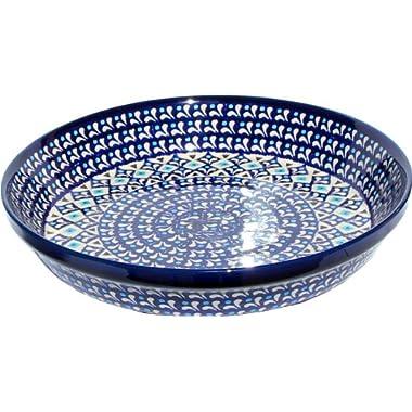 Polish Pottery Dish Pie Plate 10  From Zaklady Ceramiczne Boleslawiec #879-217a Classic Pattern, Height: 1.8  Diameter: 10
