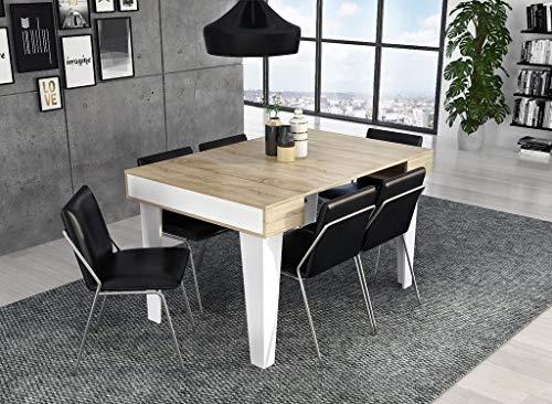 Skraut Home - Tavolo allungabile Nordic KL Fino 140 cm, Soggiorno, Stilo Scandinavo, Bianco Opaco/Rovere Spazzolato. Fino 6 Persone.Tavolo Chiuso 90x51x79cm