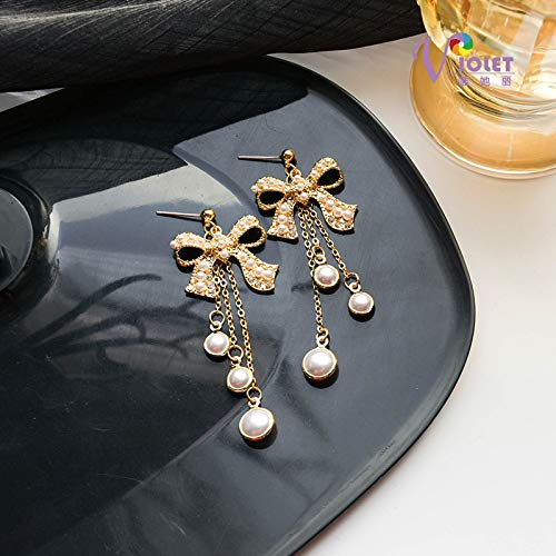 S925 Pendientes de lazo dulce de día de aguja de plata Pendientes largos de borla de perlas Pendientes de temperamento Pendientes