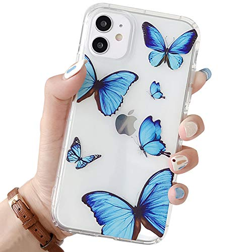 Ownest Compatible with iPhone 11 Case with Clear Butterfly Blue Case for Girls Woman Protective Shockproof Soft Slim TPU Drop Bumper Case for iPhone 11-Blue Butterfly
