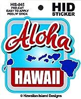HID ハワイアン ステッカー デカール(ALOHA-アイランド) ハワイアン雑貨 ハワイ 雑貨 お土産 (ブルー)