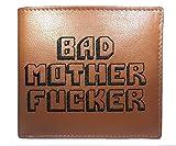 Bad Mother Fucker Portafoglio - Ricamato, Vera Pelle, Tan, Free CC Wallet